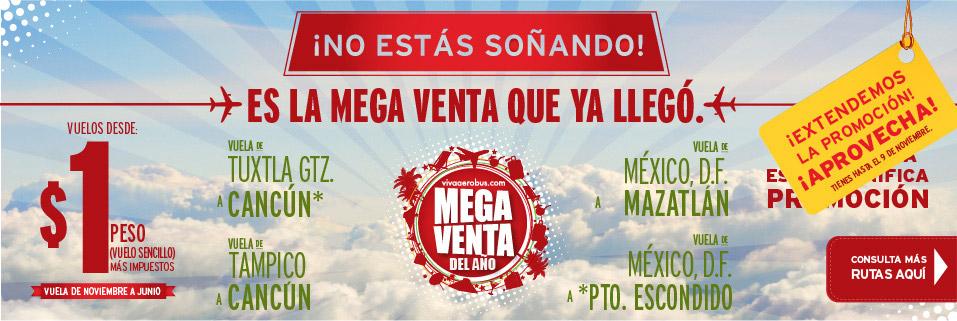 VIVAAEROBUS- Promocion $1 peso el vuelo sencillo + impuestos