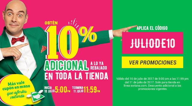 Soriana.com: 10% Adicional a lo ya rebajado en toda la tienda