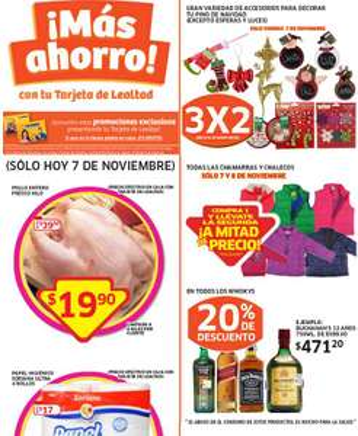 Soriana: 3x2 en accesorios de Navidad, 2x1 y medio en chamarras, pollo entero $20/Kg y más