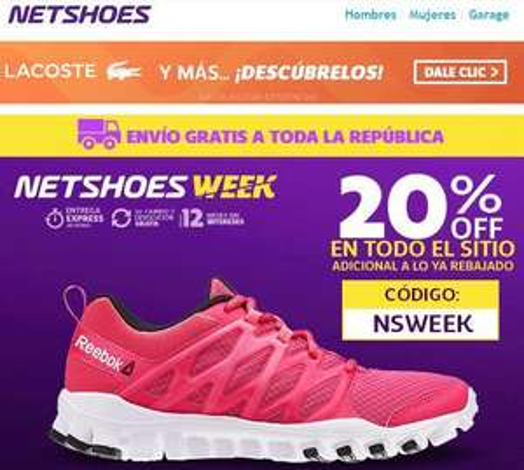 Netshoes: Cupón 20% de descuento  + envío gratis