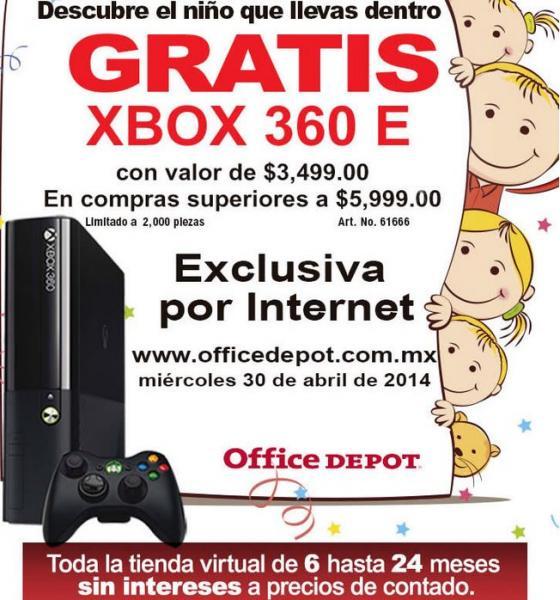 Oferta día del niño en Office Depot: gratis Xbox 360 con compras de $6,000