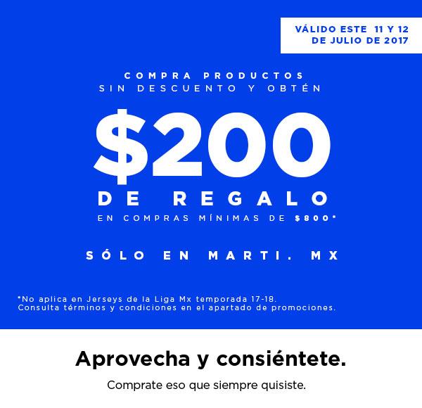 Martí en línea: $200.00 de descuento en compras mínimas de $800.00