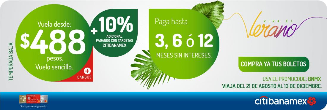 VivaAerobus: Vuelos desde $488 + 10% addicional con banamex. Codigo BNMX