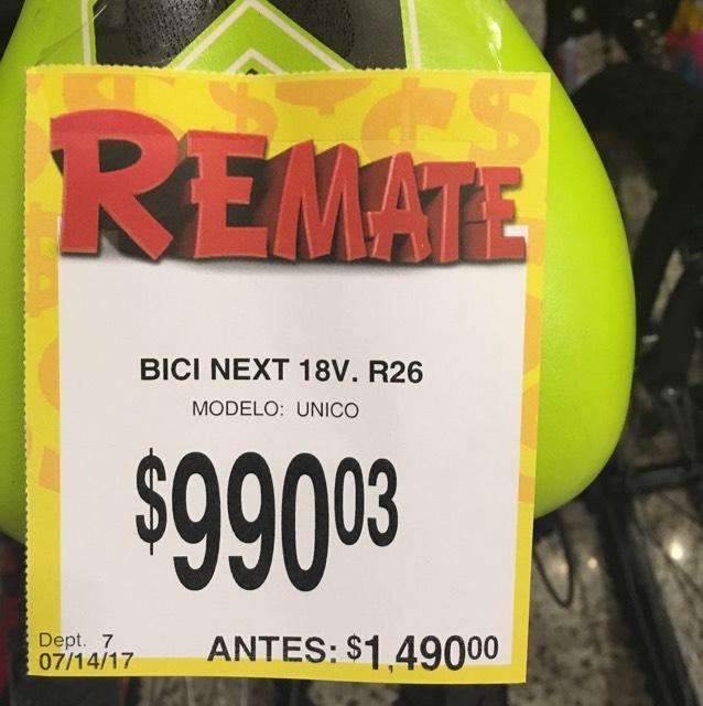 Bodega Aurrera: Bicicletas Next rodada 24 y 26 de 18 velocidades