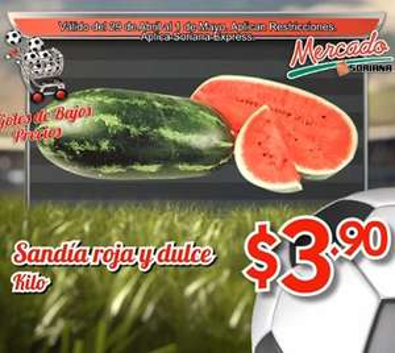 Ofertas de frutas y verduras en Soriana 29 y 30 de abril: sandía $3.90 el kilo y más