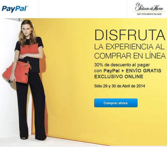 Palacio de Hierro: 30% de descuento y envío gratis con PayPal