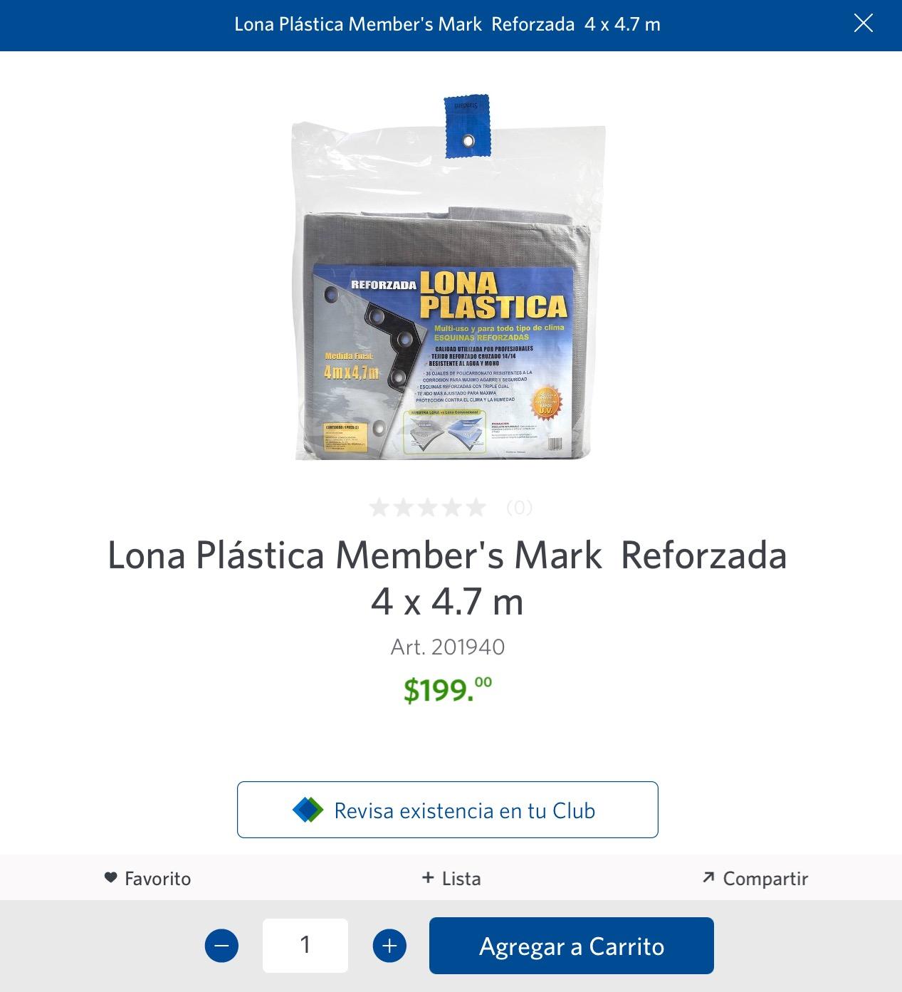Sam's Club: Lona plástica 4x4.7m. Member's Mark
