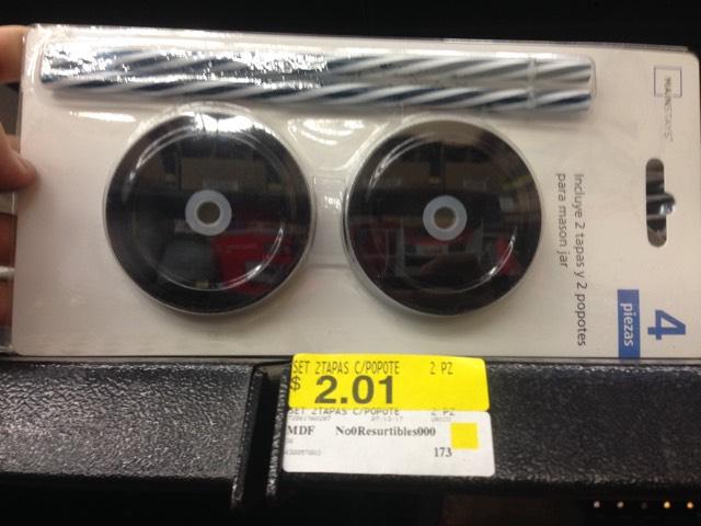 Walmart Universidad CDMX: tapa y popote tipo mason en $2.01