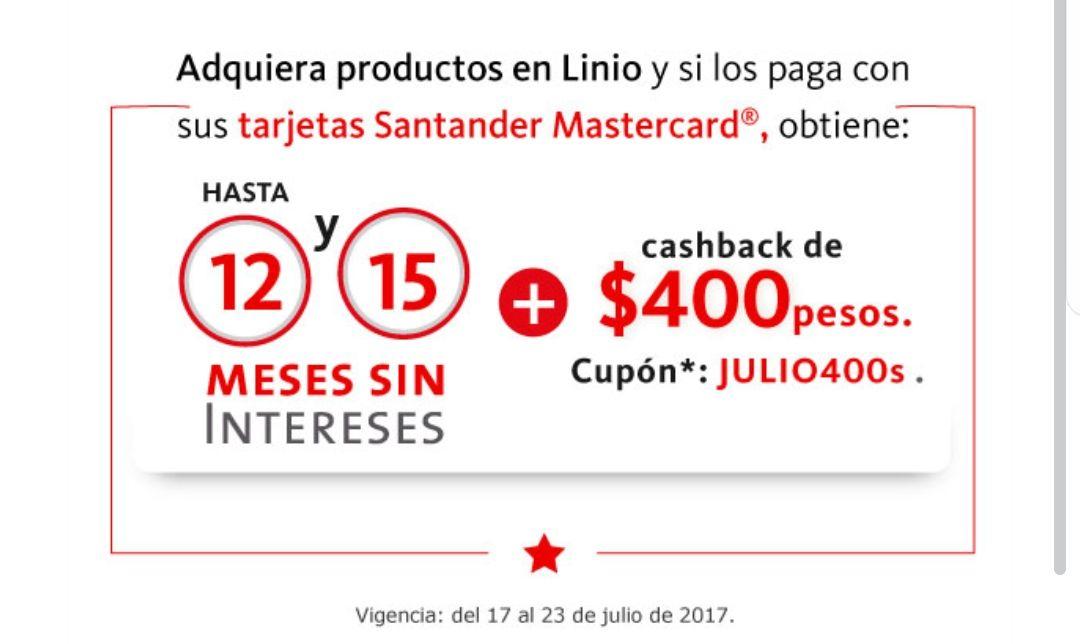 Linio: 12 y 15 MSI y $400 de cashback en linio con TDC santander