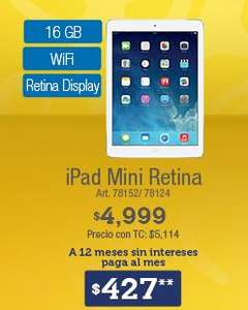 Sam's Club: iPad Mini con Pantalla Retina $4,999 y 12 meses sin intereses
