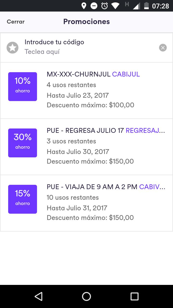 Cabify Puebla:  30% descuento en 3 viajes (máximo $150)