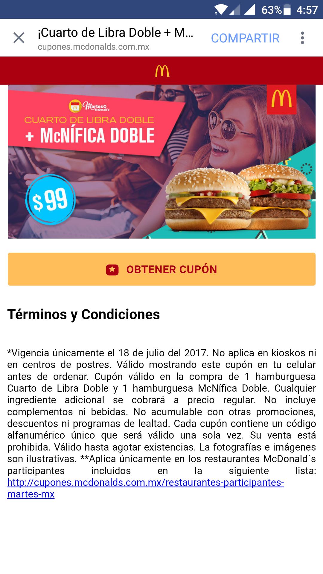 McDonald's: Mcnifica doble + cuarto de libra doble por 99 morlacos