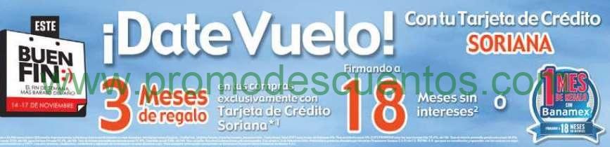 Ofertas del Buen Fin 2014 en Soriana: 18 MSI y 1 ó 3 mensualidades de regalo
