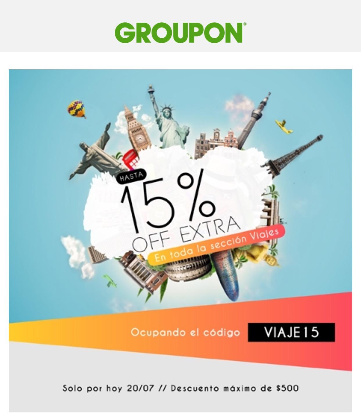 Groupon: Disfruta este Verano con un 15% off EXTRA en Viajes