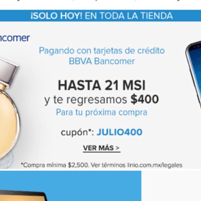Linio: cashback de $400 pesos en Linio pagando con BBVA Bancomer compras mínimas de $2,500