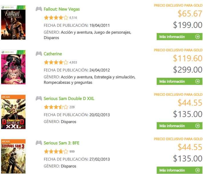 Xbox Marketplace: decuentos de la semana 11 nov a 17 nov para usuarios Gold