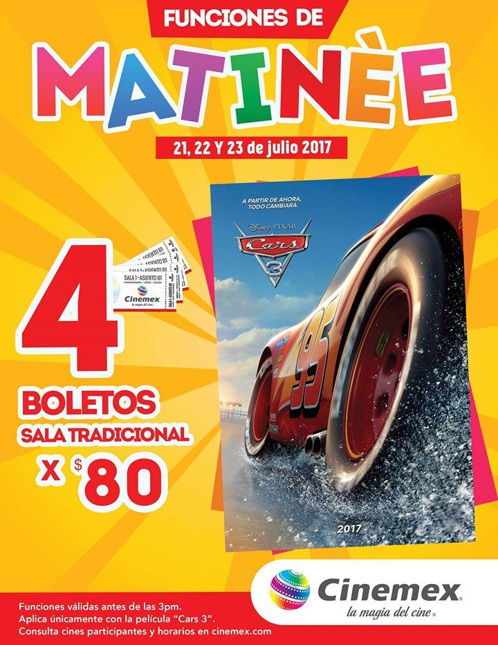 Cinemex: funciones de matinée para Cars 3, 4 boletos por $80 del 21 al 23 de julio
