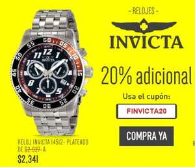 Linio 20% descuento adicional en relojes Invicta
