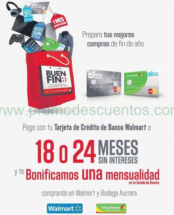 Ofertas del Buen Fin 2014 en Bodega Aurrerá y Walmart: 1 mensualidad de bonificación con Banco Walmart