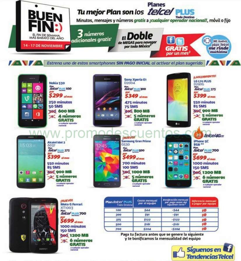 Promociones del Buen Fin 2014 en Telcel: doble megas, 3 número adicionales gratis y más