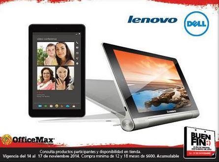 Ofertas del Buen Fin 2014 en OfficeMax: 20% de descuento en tablets Dell y Lenovo