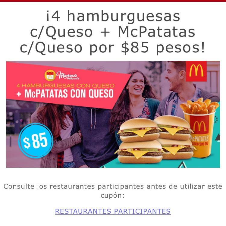 McDonald's: $85 4hamburguesas + Mc Patatas