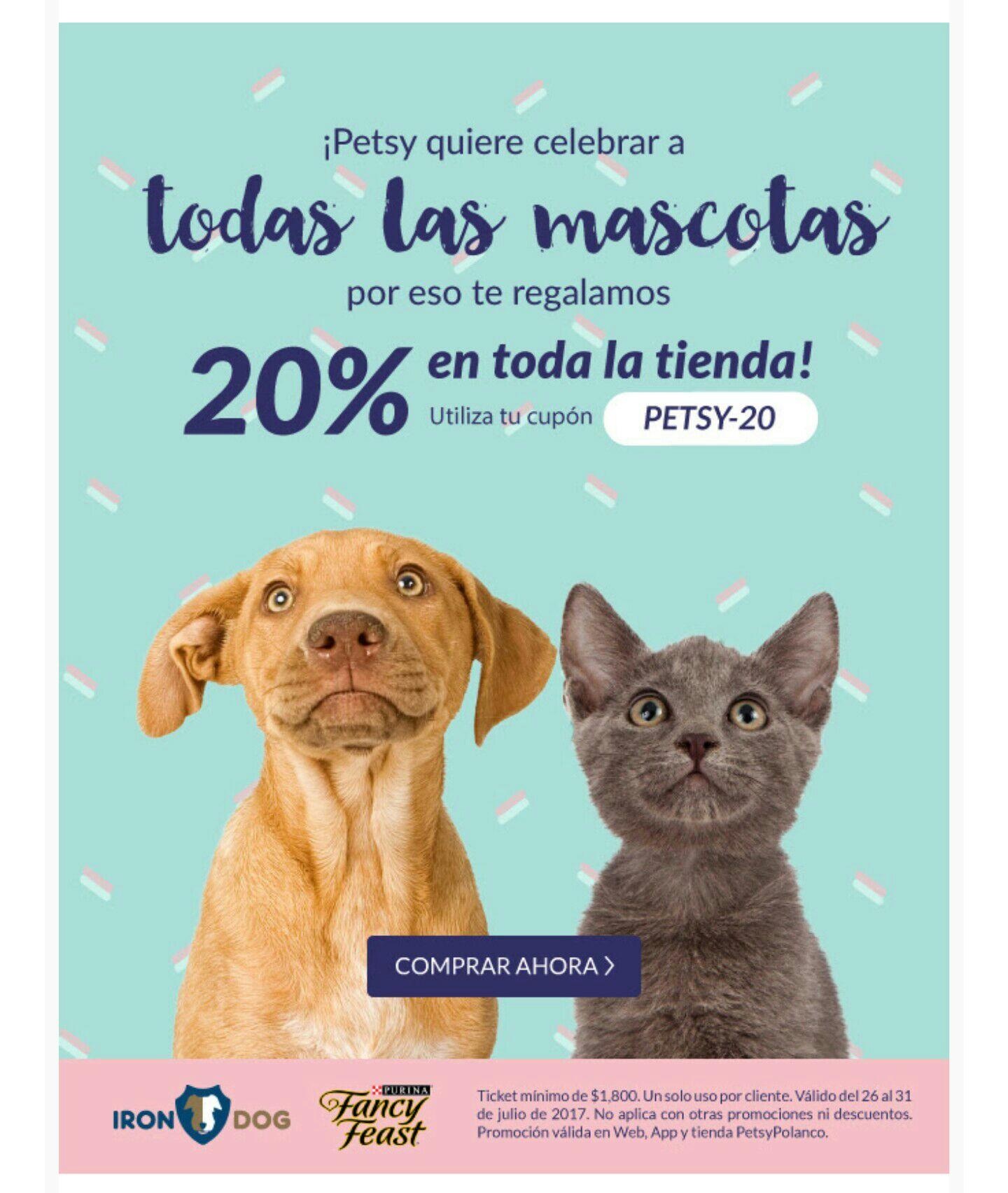 Petsy: Cupón 20% Desc. toda la tienda