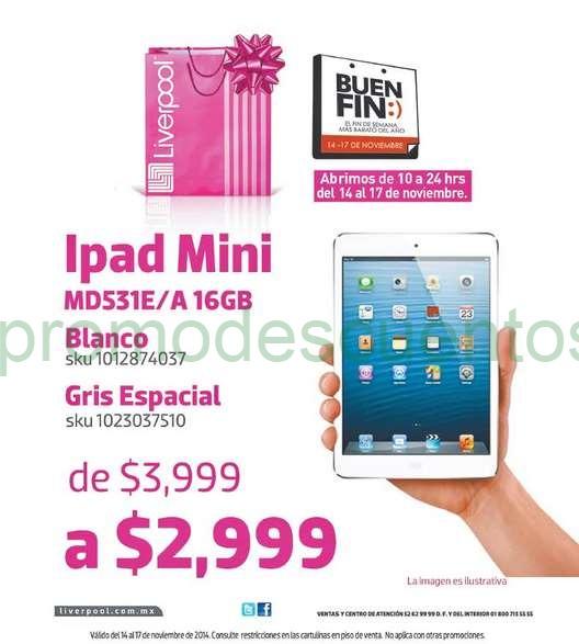 Promociones del Buen Fin 2014 en Liverpool: iPad Mini $2,999