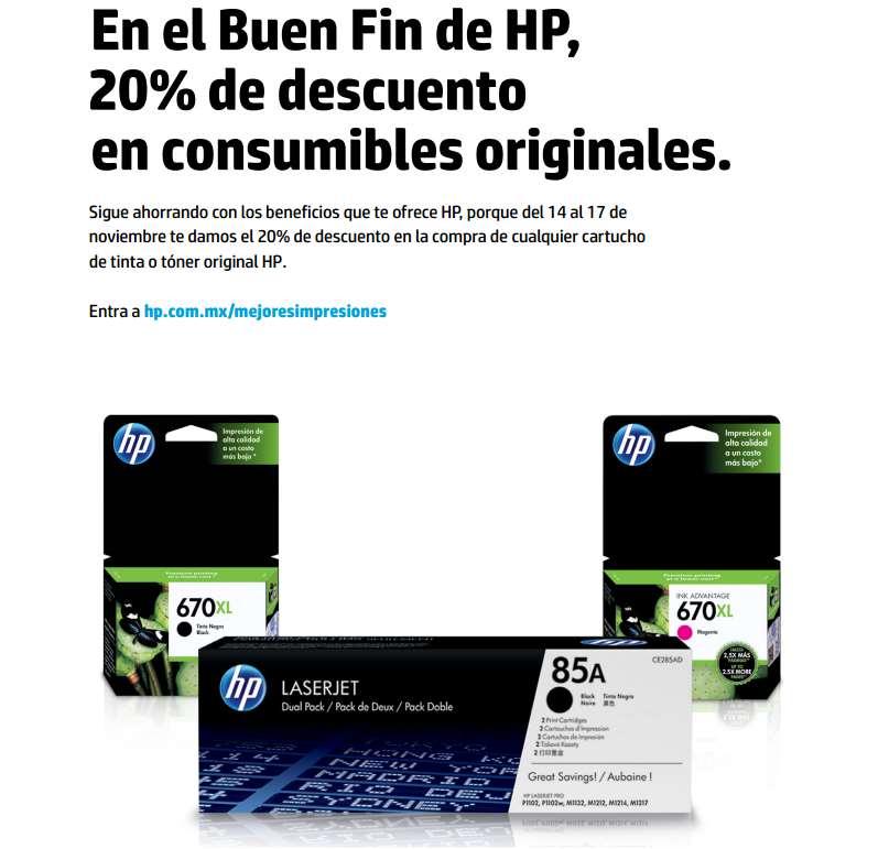 Ofertas del Buen Fin 2014 en HP: 20% en consumibles