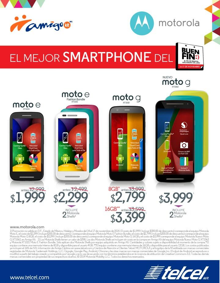 Promociones del Buen Fin 2014 de equipos Motorola en Telcel