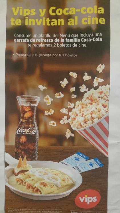 Vips: 2 boletos gratis para el cine en la compra de un platillo y una jarra de refresco coca cola