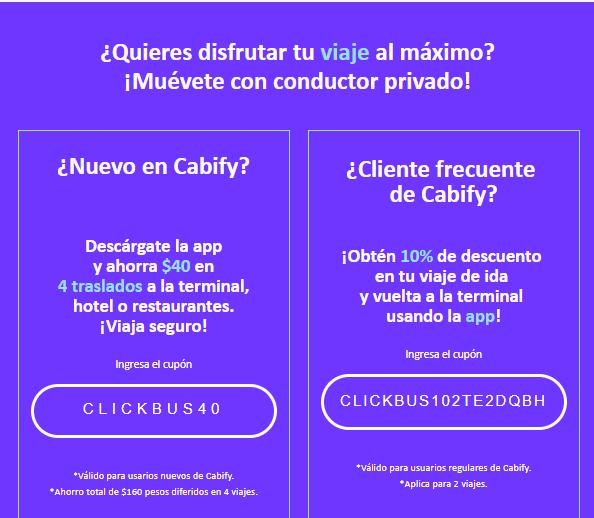 Cabify: 4 viajes de $40 (usuarios nuevos)