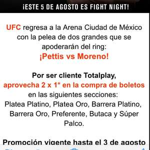 SuperBoletos: 2x1 en UFC con cupón