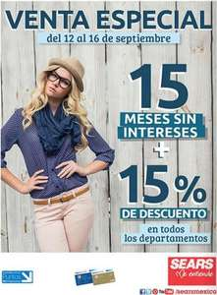Sears: venta especial Bancomer del 12 al 16 de septiembre