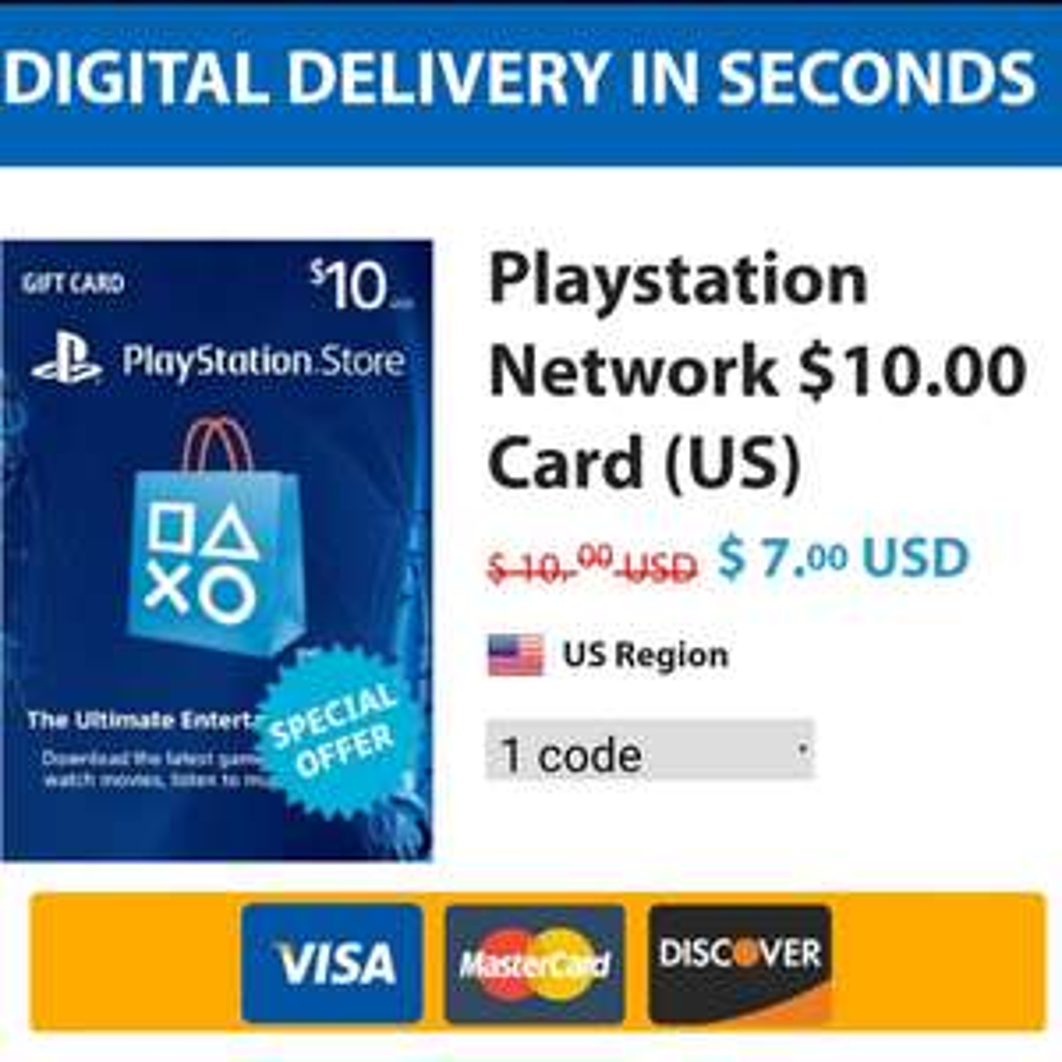 Pcgamesupply: PSN Card $10 a $7 USD