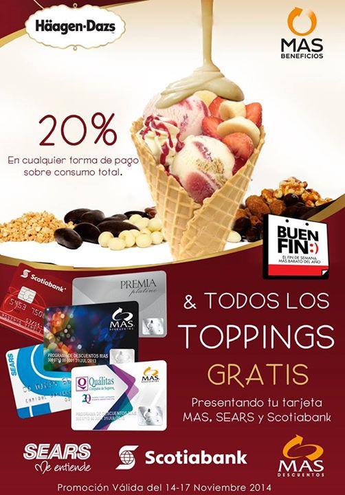 Haagen-Dazs: 20% de descuento + Toppings GRATIS con Scotiabank, Sears o MAS
