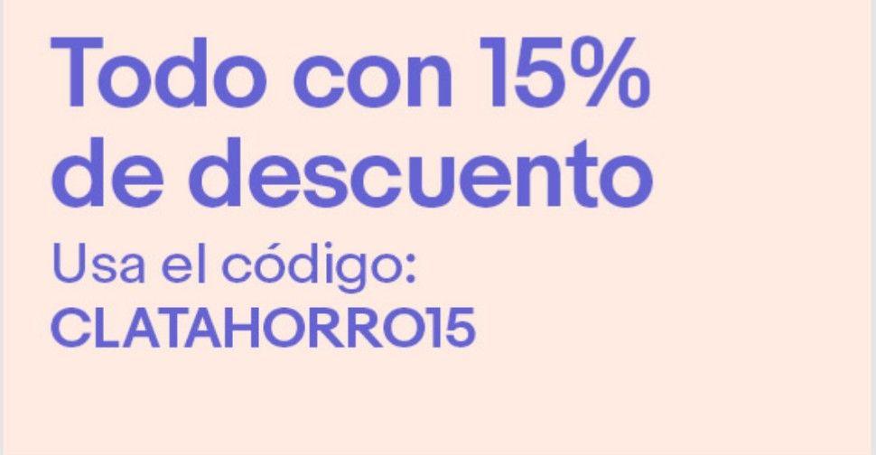 eBay: Cupón 15% para toda la tienda
