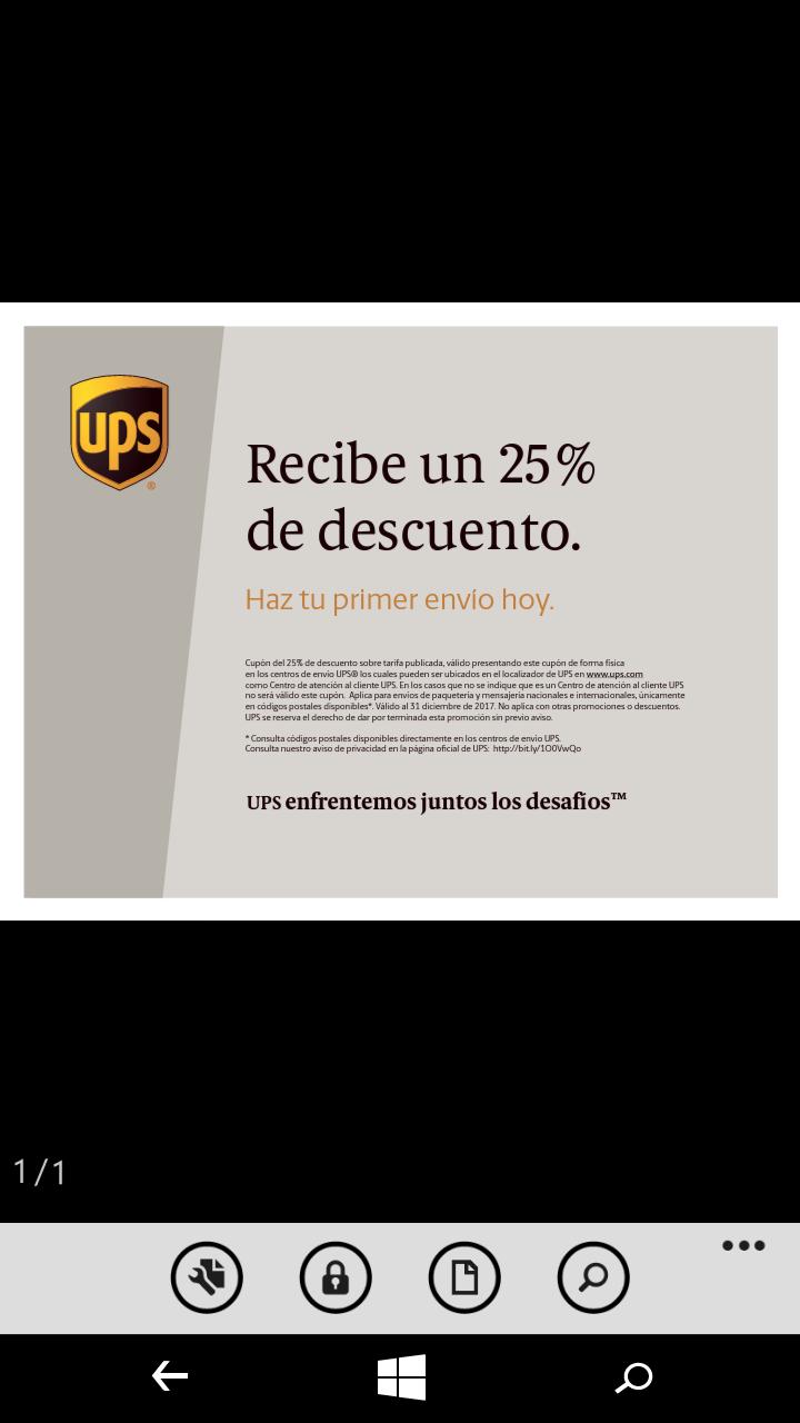 25% de descuento en envios por UPS