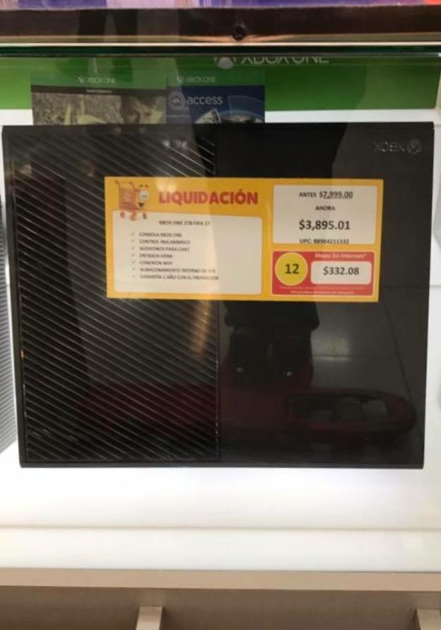 Walmart en tienda: Xbox One 1TB con FIFA17 a $3,895.01