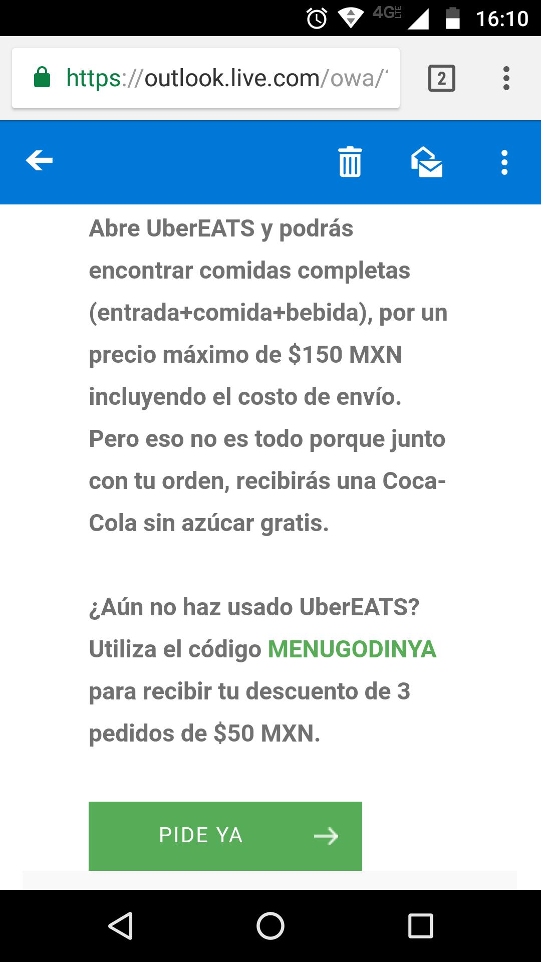 UberEats: Código (MENUGODINYA) Descuento de $50 en tres primeros pedidos y Coca Cola gratis (nuevos usuarios)