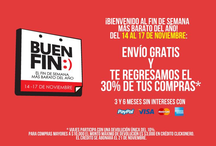 Ofertas del Buen Fin en clickonero: envío gratis y 30% de reembolso en crédito