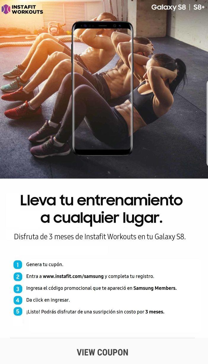 Samsung members:3 meses gratis de instafit