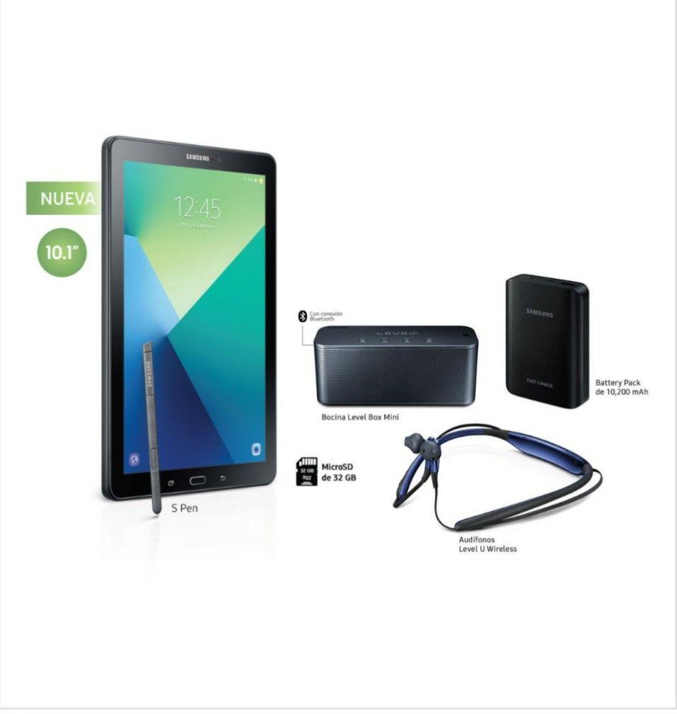 Claro Shop: Galaxy Tab a 10.1'' + Bocina Level Box + Audífonos Level U + Batería Portátil 10.2 Mha + Sd 32Gb