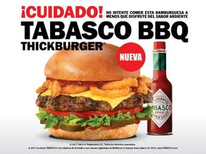 Carl's Jr: GRATIS Hamburguesa tabasco BBQ ThickBurger Jr con tarjeta SOY FAN