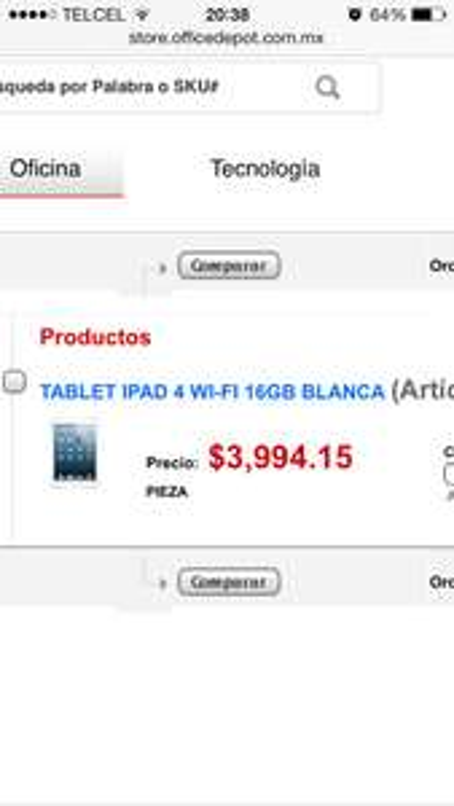 Ofertas del Buen Fin 2014 en Office Depot: iPad 4 $3,994 ($3,550 con Banamex)