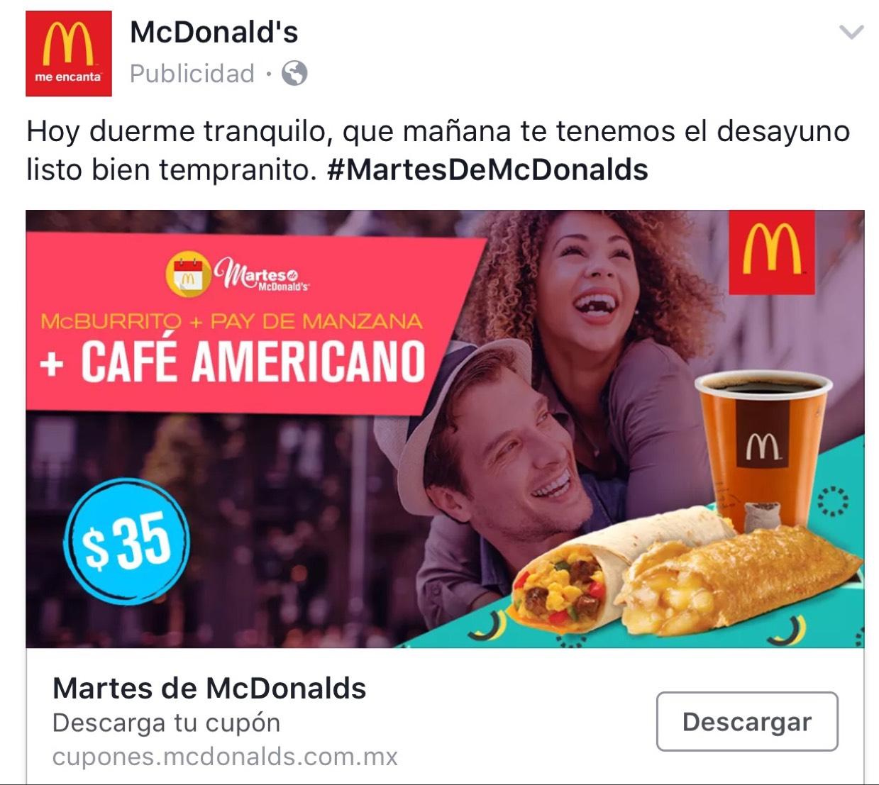 Martes de McDonald's: 1 Burrito a la mexicana, 1 Pay de manzana & 1 Café americano de 12 Oz con refill gratis a $35