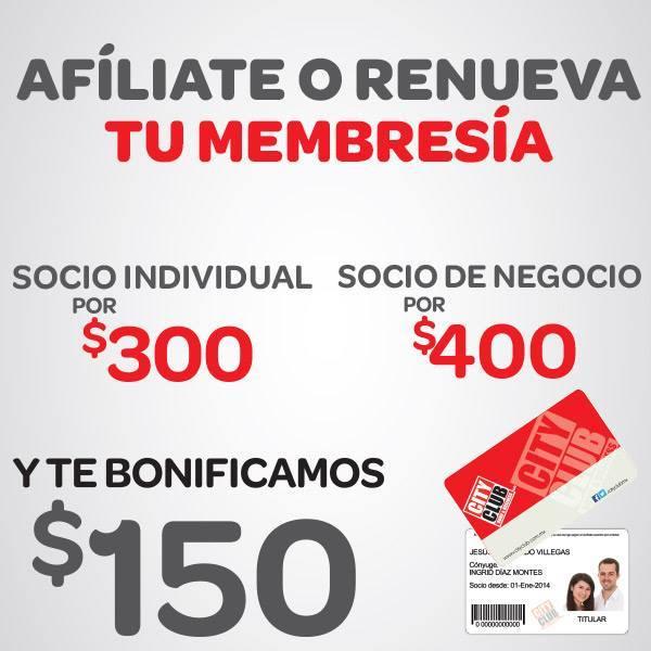 Ofetas del Buen Fin en City Club: $150 de bonificación al afiliarte o renovar (50%)