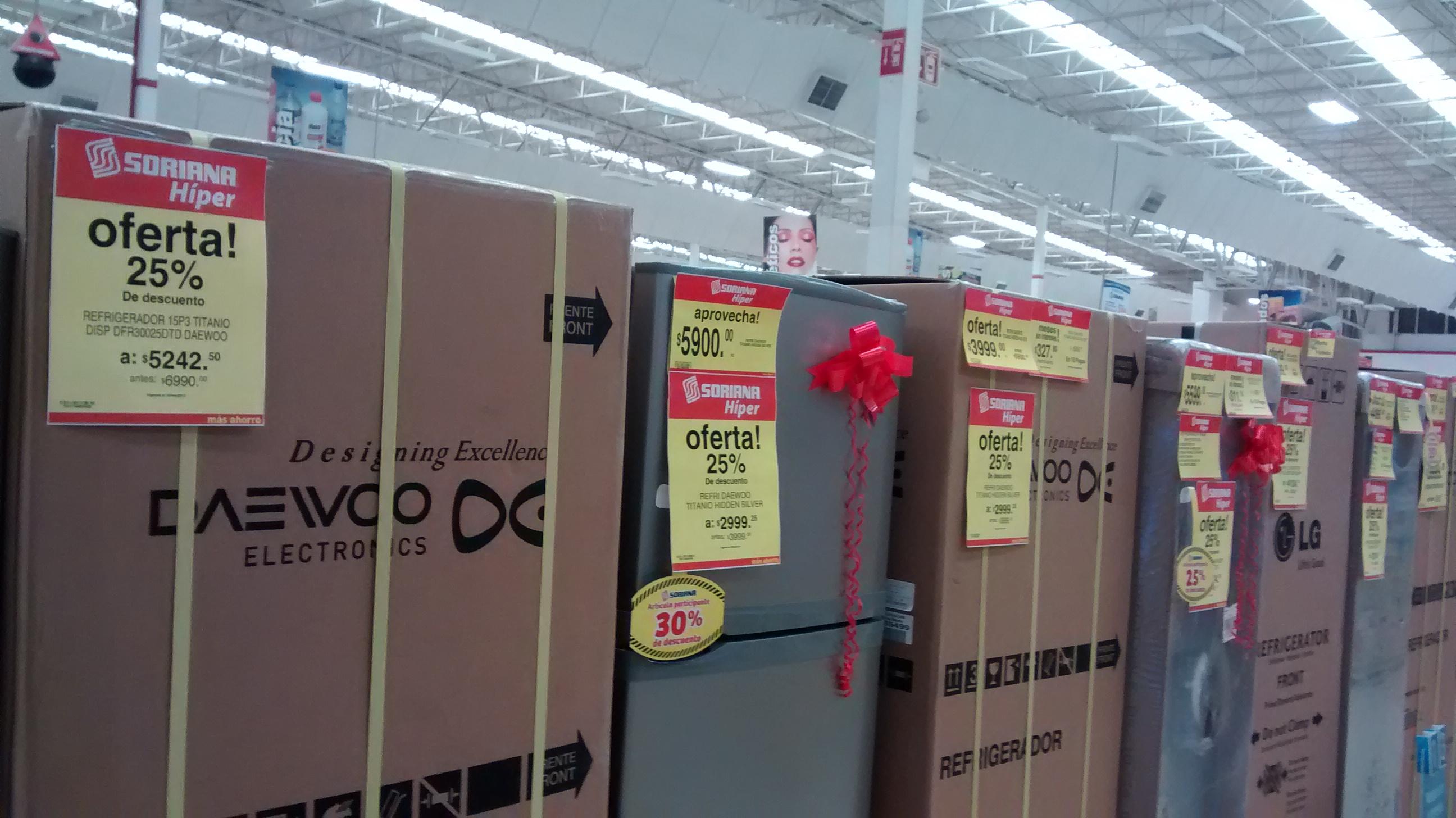 Ofertas del Buen Fin en Soriana: 25 % de descuento adicional sobre precios de folleto en REFRI y estufas