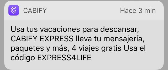 Cabify Express: cupón 4 envíos gratis en Cabify express