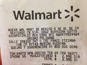 Walmart: iPhone 5s blanco 16 gb, Telcel a $2,995.01